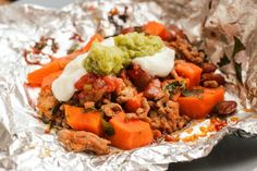 Sweet Potato Tacos a la Foil Packets - I can't even begin to tell you how well these flavors go together! I LOVE these!