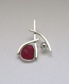 Sea Glass Jewelry - Sterling Extremely Rare Red English Sea Glass Pendant via Etsy