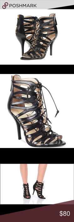 Nine West Kenie Lace Up Heels 5 Lace up corset curves in a vivaciously layered bootie perfected with a slick back zip. Black leather. Size 5M. Brand new. Ships without the box. Nine West Shoes Heels