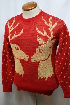 Vintage 40s Puritan 100 Wool Elk Snowflake Hunting Sweater Mens Medium | eBay
