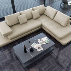 Lamont - Ultra Modern Cream Leather Sectional Sofa - modern - sectional sofas - - by EuroLux Furniture Cream Leather Sectional, Brown Sectional Sofa, L Shaped Leather Sofa, Modern Leather Sofa, Leather Couches, White Leather, Sofa Set Designs, Modern Sofa Designs, Modern Sleeper Sofa