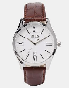 Excellent Hugo Boss Watches Brown Leather Strap