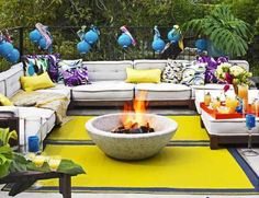 Make a Firepit    It doesn't get much easier than this, or more dramatic. Fill a low, round, firesafe concrete container with wood, and light it.