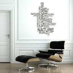 Vinilo decorativo de un collage de palabras relacionadas con el medio ambiente y los medios naturales. Masquevinilo.com