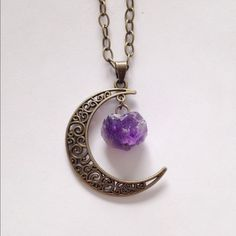 Crystal Moon Necklace  Bronze necklace available any length. Boho Chic Boutique Jewelry Necklaces