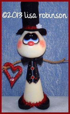 hand painted snowman gourd cone valentine bird heart by primchick, $29.99