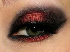 Gorgeous eye make up! Red and black looks so sexy, would love to wear this!
