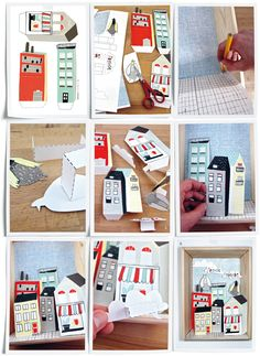 DIY city in a box by illustrator Kim Welling (In Dutch but the steps are easy to follow)