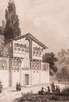 """İstanbul Evi Gravür-1840 yılında Jouannin tarafından hazırlanmış ve ahşap baskı tekniğinde basılmış """"La Turquie"""" adlı kitapta da kullanılmıştır (Paris 1840).:"""