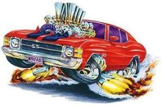 *Firebreather* 1971 Chevelle SS 454 LS-5 cartoon Car Wall Graphic