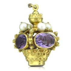 Etruscan 18k Gold Amethyst Pearl 3D Charm Pendant. Available @ hamptonauction.com for the May 18, 2014 auction!