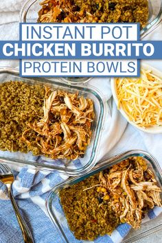 The perfect protein packed lunch! Chicken Burrito bowls are easy to make in the Instant Pot and are the perfect dish to make for meal prep. They're so easy to make! Chicken Burrito Bowl, Burrito Bowls, Chicken Burritos, Quick Easy Dinner, Easy Meal Prep, Pork Recipes For Dinner, Grilling Recipes, Ww Recipes, Healthy Recipes