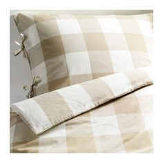 For the guest room. EMMIE RUTA Duvet cover and sham - beige/white - IKEA