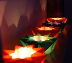 Weihnachtsdeko - Stern-Teelichthalter selber falten