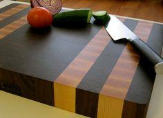 Premium End Grain Butcher Block cutting board with rubber feet for Kaja