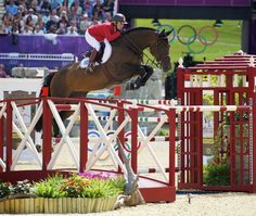 Meredith Michaels-Beerbaum aboard Bella Donna at London 2012 Olympics // equestrian show jumping / dark bay jumper