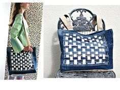 Handmade Recycled Denim Tote Beach bag Shopping by LovedAgain4you