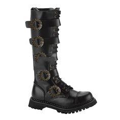 Demonia Steam-20 - Gothic Steampunk Industrial Leder Stiefel Schuhe 36-48   Amazon 068c7478d7