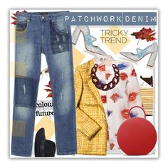 """""""Patchwork Denim"""" by nantucketteabook ❤ liked on Polyvore featuring Miu Miu, MSGM, Chanel, Alexander McQueen, BUwood, DIANA BROUSSARD, Rebecca Minkoff, trending, trends and patchworkdenim"""