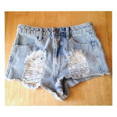 Destroyed Denim High Waisted Shorts Destroyed high waisted shorts. I love these shorts but they just don't fit. These are actually a size 3 but fit more like a size 1. Perfect for summer or pairing with leggings. In great condition. Shorts Jean Shorts