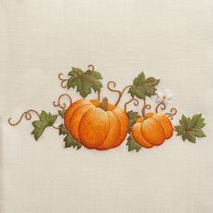 Pumpkins Grande<br>Towel - Ivory Linen. needlepainting embroidery. Henry handwork