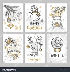 Christmas hand drawn cards with snowman, car, fir branch, balls and gifts. Diy Holiday Cards, Homemade Christmas Cards, Printable Christmas Cards, Xmas Cards, Homemade Cards, Photos Vintage, Cars Vintage, Vintage Photographs, Christmas Family Feud