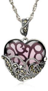 "Sterling Silver Marcasite and Amethyst Colored Glass Heart Pendant Necklace, 18"" - http://finejewelrygalleria.com/jewelry/necklaces/pendants/sterling-silver-marcasite-and-amethyst-colored-glass-heart-pendant-necklace-18-com/"
