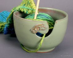 Yarn Bowl Mint Green with Flourish Handmade by HurricanePottery