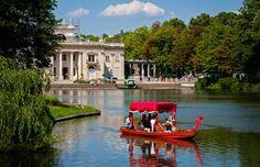 Bootstour vor dem Wasserschloss im Łazienki Park