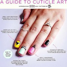 The newest trend in nail art? Cuticle tattoos. The range of Rad Nails' new collection of Beyond Nail Tattoos consists of four different designs ($6 each) that were made to be worn along your cuticle below your nail or even on your nail.
