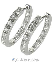 Ziamond Cubic Zirconia Pave CZ Hoop Earrings 14K White Gold.  The Odellia Small Inside Out Pave Set Hoop Earrings are also available in a large version.  $1095 #ziamond #cubiczirconia #cz #hoops #earrings #pave #czjewelry #diamond