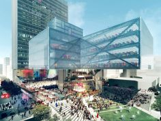 REX Cantilevers Stacked Library Entry Over Downtown Calgary Site