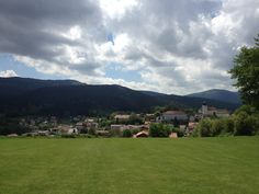 Nice scenery of the village of Lam in Bavaria from the fairway of hole nr. 3.