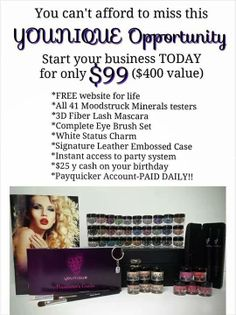 This is about how with only $99 you can become your own success story and build your business. Be your own boss, get paid Daily after sales. SO much possibility. I #love Younique. It has done so much for my family and myself #letitbeurfuture