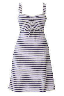 Boob Design Simone Nursing Dress, Light Cobolt Blue and White Stripe - Izzy's Mum Breastfeeding Clothing