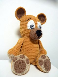 Crochet Big Bear Pattern Soft Stuffed Animal With Genuine Eyes Designed By SKatieDes