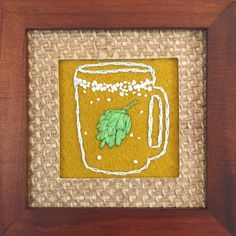 I just love green silk ribbon beer hops on a mustard background!   This framed embroidery is $34 play shipping; up in my shop. Link in profile.