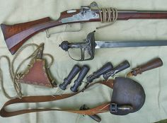 Musketeer's equipment, 17th century.    Photo courtesy Flickriver/snowshoemen.