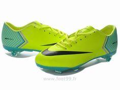 buy online 09bb8 540c1 Chaussures de foot nike Mercurial Vapor X FG Vert Bleu Noir Chaussure De  Foot Pas Cher Nike Mercurial