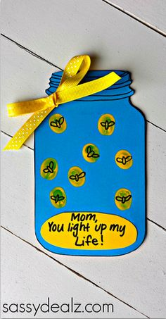 "Have your kids make this adorable firefly Mother's Day card that says ""Mom, you light up my life!"" on the bottom. It's very easy to make and includes a free printable."