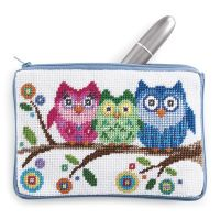 Owl Cosmetic Case Needlepoint Kit