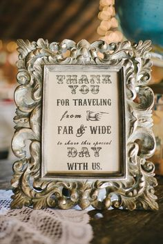 """""""Thank You"""" sign. (photo: Michelle Gardella Photography) Would love to do this on the table with name cards along with photos of Jeff and me!"""