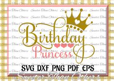 Birthday Princess SVG, Birthday cut file, girl Dxf Silhouette Studios, Cameo Cricut cut file INSTANT DOWNLOAD, Vinyl Design, Htv Scal Mtc