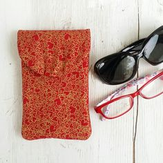 Gold Hearts Red Double Eyeglasses Case  Case for by LucyLynDesigns