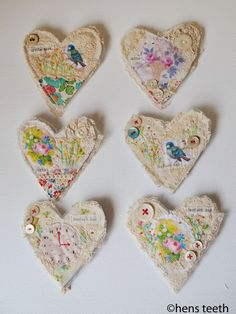 Hello, I have been updating my MADEBYHANDONLINE store today. I have these very lacey, textured heart shaped brooches and a couple . Scrap Fabric Projects, Fabric Scraps, Quilting Projects, Sewing Projects, Fabric Hearts, Fabric Flowers, Free Motion Embroidery, Hand Embroidery, My Funny Valentine