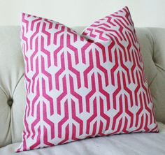 Designer Pink Pillow Cover - Raspberry Geometric Pillow- Throw Pillow - Decorative Chevron - Magenta Pillow - Serena & Lilly -Radiant Orchid...