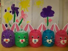 milk jug Easter crafts | cute bunny baskets made from milk jugs | Preschool Easter
