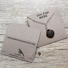 Customized Pocket Fold Necklace Cards - Holds Chain - Jewelry Display Cards - Packaging by HomegrownGems on Etsy https://www.etsy.com/listing/229658156/customized-pocket-fold-necklace-cards