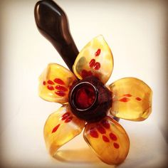 Art glass flower Sherlock pipe by NorthLightGlass on Etsy, $100.00