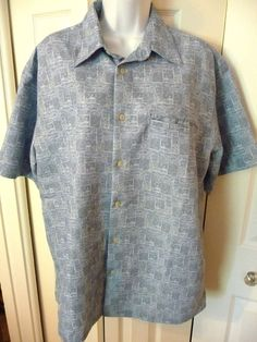 Weatherproof Garment Mens Hawaiian Shirt M Medium Short Sleeve Blue Beach Huts #WeatherproofGarmentCompany #Hawaiian